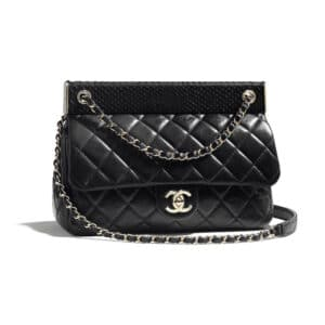 Chanel Black Lambskin:Python Flap Bag
