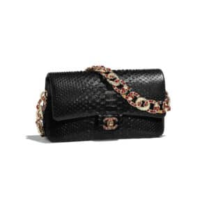 Chanel Black Python:Lambskin:Strass:Resin Flap Bag
