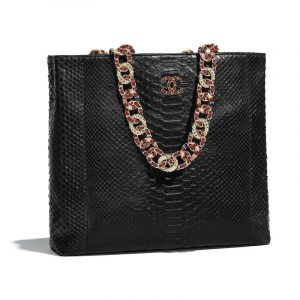 Chanel Black Python:Lambskin:Strass:Resin Large Shopping Bag