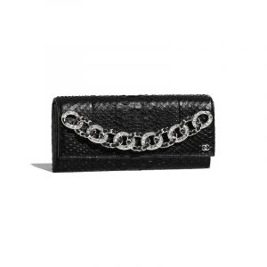 Chanel Black Python:Strass Clutch Bag