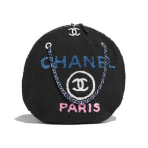 Chanel Black Shearling Deauville Medium Round Shopping Bag