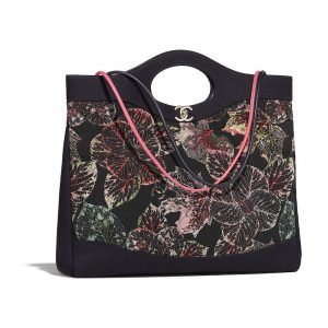Chanel Black:Ecru:Red:Green Calfskin:Silk:Cotton Printed Chanel 31 Large Shopping Bag
