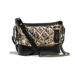 Chanel Black:Gold Metallic Crumpled Goatskin Gabrielle Small Hobo Bag