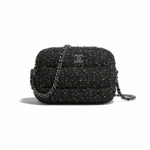 Chanel Black:Green:Blue Tweed Camera Case Bag