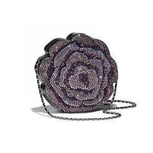 Chanel Black:Purple Evening In The Forest Camellia Evening Bag