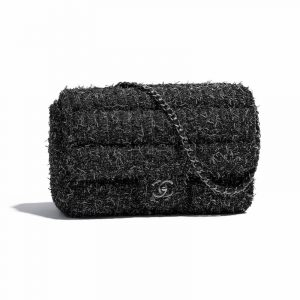 Chanel Black:Silver Tweed Flap Bag