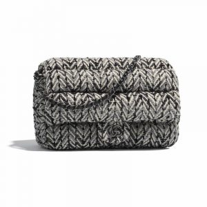 Chanel Black:Silver:Ecru Tweed Flap Bag