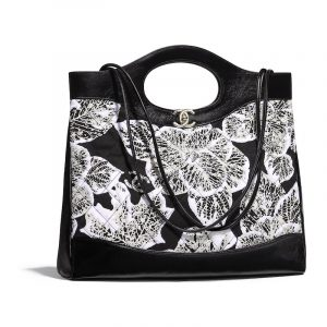 Chanel Black:White Patent Calfskin Printed Chanel 31 Medium Shopping Bag