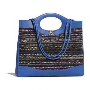 Chanel Blue:Black Calfskin:Tweed Printed Chanel 31 Medium Shopping Bag