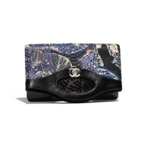 Chanel Blue:Black Patent Calfskin:Python Printed Chanel 31 Clutch Bag