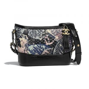 Chanel Blue:Black Python Printed Gabrielle Small Hobo Bag