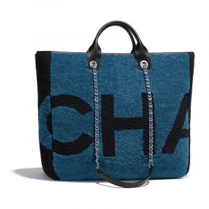 Chanel Blue:Black Shearling Maxi Chanel Large Shopping Bag