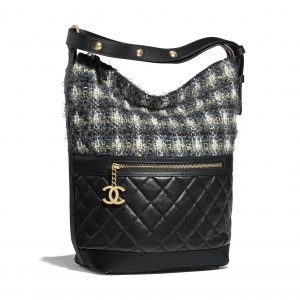 Chanel Blue:Black:Ecru Aged Calfskin:Tweed Casual Style Small Hobo Bag