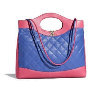 Chanel Blue/Dark Pink Lambskin Chanel 31 Medium Shopping Bag