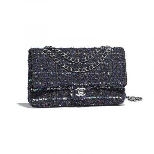 Chanel Blue:Purple:Khaki:Pink Tweed Classic Flap Medium Bag