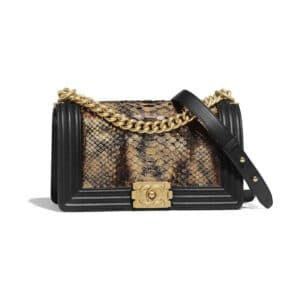 Chanel Bronze:Black Python Boy Chanel Old Medium Flap Bag