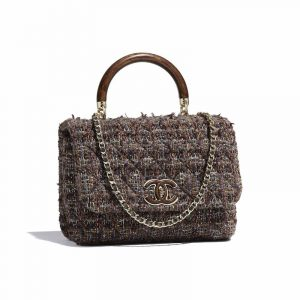 Chanel Brown:Blue:Purple Tweed Knock On Wood Top Handle Bag