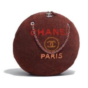 Chanel Brown:Orange Shearling Deauville Large Round Shopping Bag