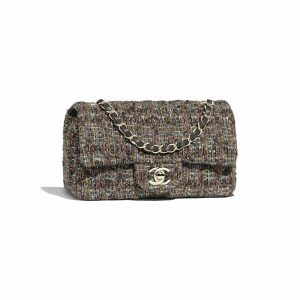 Chanel Brown:Purple:Gold Tweed Mini Flap Bag