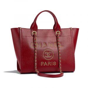 Chanel Burgundy Studded Calfskin Deauville Small Shopping Bag