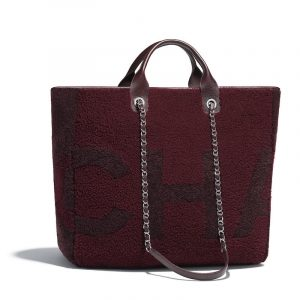 Chanel Burgundy:Brown Shearling Maxi Chanel Large Shopping Bag