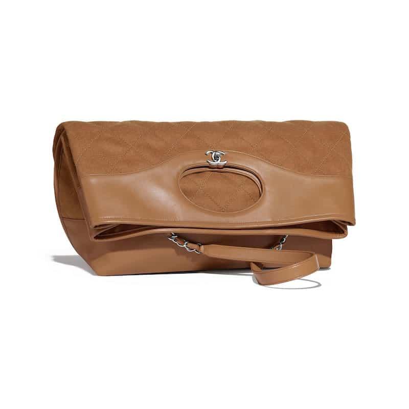 fea24e5c442d Chanel Dark Beige Calfskin Wool Chanel 31 Large Shopping Bag
