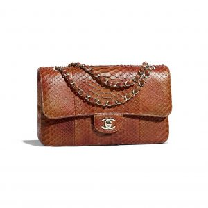 Chanel Dark Orange Python Classic Flap Medium Bag