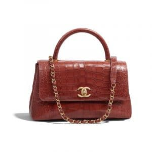 Chanel Dark Red Alligator Small Coco Handle Bag