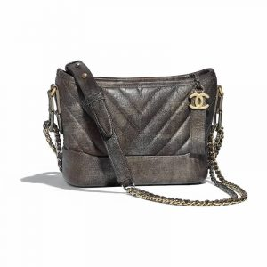Chanel Dark Silver:Gold Chevron Gabrielle Small Hobo Bag