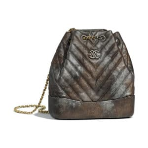 Chanel Dark Silver:Gold Metallic Grained Goatskin Gabrielle Small Backpack Bag