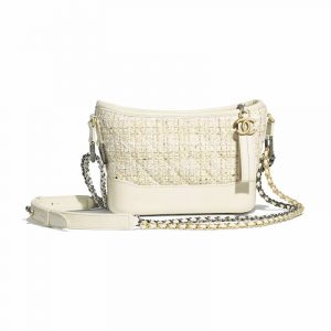 Chanel Ecru:White Tweed Gabrielle Small Hobo Bag