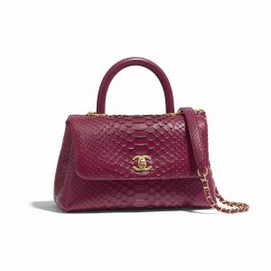 Chanel Fuchsia Python Mini Coco Handle Bag