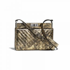 Chanel Gold Metallic Crumpled Goatskin Reissue Clutch Bag