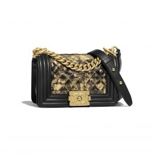 Chanel Gold:Black Metallic Crumpled Goatskin Boy Chanel Small Flap Bag