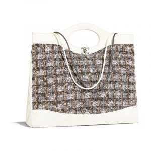 Chanel Gray:Beige:Brown:White Calfskin:Tweed Printed Chanel 31 Large Shopping Bag