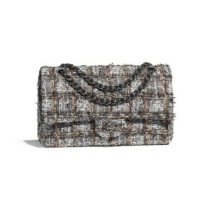 Chanel Gray:Beige:Brown:White Tweed Classic Flap Medium Bag