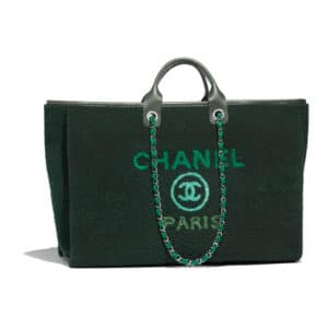 Chanel Green Shearling Deauville Maxi Shopping Bag
