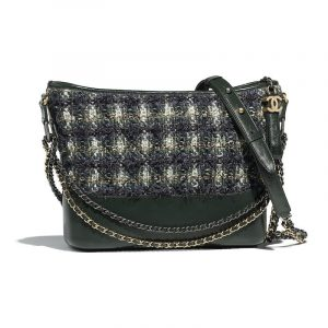 Chanel Green:Blue:White Tweed Gabrielle Hobo Bag