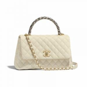 Chanel Ivory Grained Calfskin:Elaphe Small Coco Handle Bag