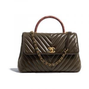Chanel Khaki:Pink Aged Calfskin:Elaphe Large Coco Handle Bag