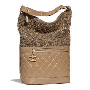 Chanel Light Brown:Green Aged Calfskin:Tweed Casual Style Large Hobo Bag