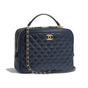 Chanel Navy Blue CC Vanity Case Large Bag