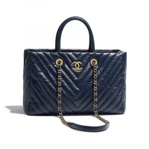 Chanel Navy Blue Chevron Aged Calfskin Coco Allure Small Shopping Bag