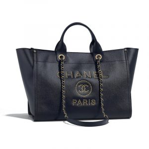 Chanel Navy Blue Studded Calfskin Deauville Medium Shopping Bag