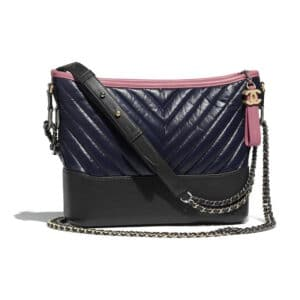 Chanel Navy Blue:Charcoal:Pink Aged Calfskin Gabrielle Hobo Bag