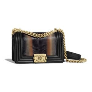 Chanel Orange Lizard Boy Chanel Small Flap Bag