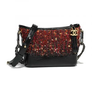 Chanel Orange:Black Sequins:Calfskin Gabrielle Small Hobo Bag