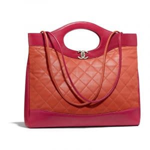 Chanel Orange/Red Lambskin Chanel 31 Medium Shopping Bag