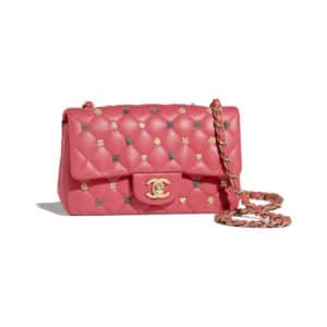 Chanel Pink 18K Charms Classic Flap Mini Bag