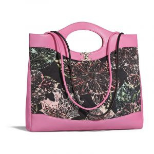 Chanel Pink:Black Calfskin Printed Chanel 31 Medium Shopping Bag